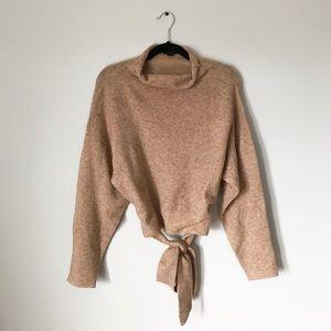 Lumiere Tie Waist Mock Neck Sweater